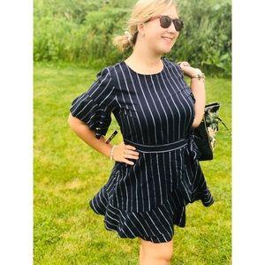 EXPRESS Navy Blue white striped wrap dress large